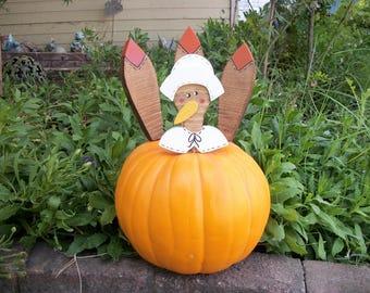 Large Lady Turkey Pumpkin Pokes Thanksgiving Decor Female Pilgrim Turkey Kit