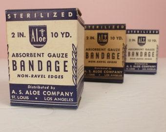 Set Three Gauze Bandage New Old Stock Sealed Boxes / Vintage Medical Display Apothecary