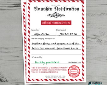 Santa certificate etsy personalised naughty list christmas certificate from santa clause warning letter spiritdancerdesigns Choice Image