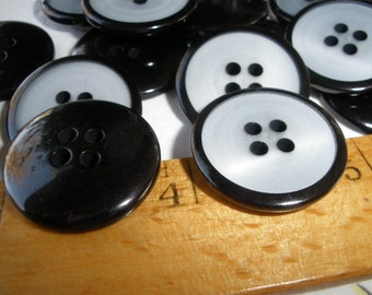 """Cool Tuxedo Black & White Art Deco Buttons 7/8"""" (36L 22MM) 18 pieces plastic shiny pearlescent 4 hole sew on crafts sewing costume retro"""