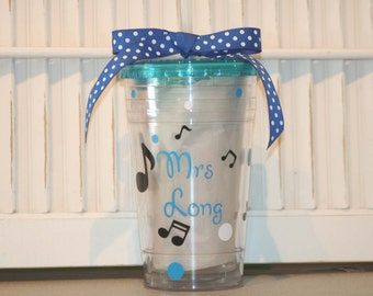 Personalized music teacher gift -  16 oz Insulated cup with music notes and polka dots
