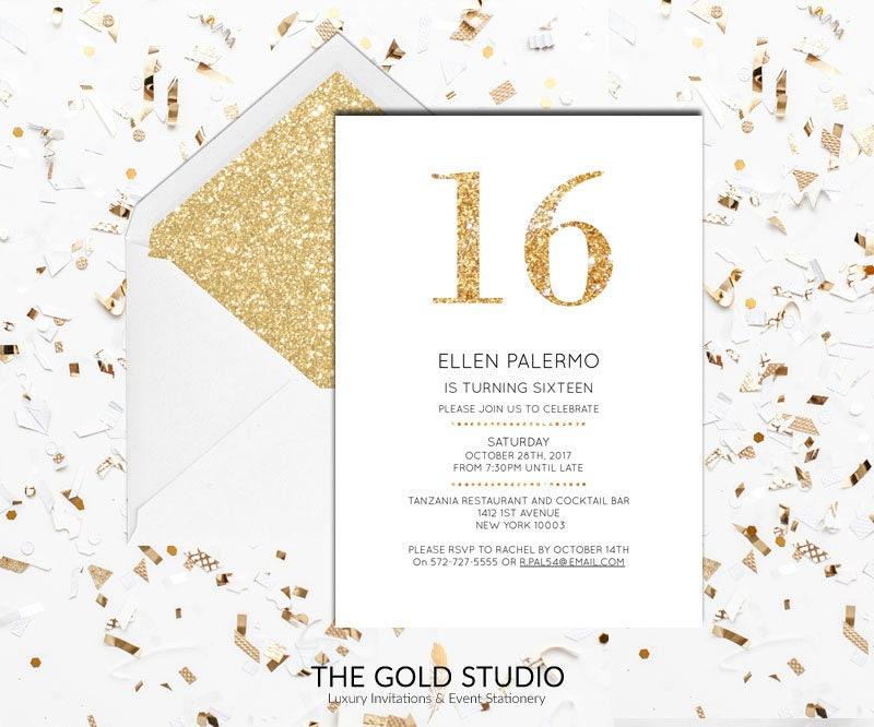 Gold Glitter 16th Birthday Invitation | Gold & White Modern Elegant ...