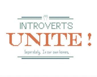 Introverts Unite! PDF Cross Stitch Pattern INSTANT DOWNLOAD