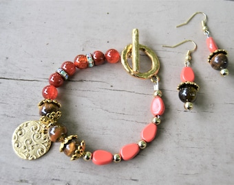 TIGERS EYE Coral Beads Gold Etruscan Disc Charm with Matching Earrings