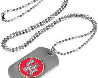 Houston Cougars Stainless Steel Dog Tag Necklace