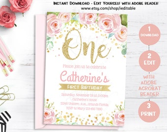 First birthday invitation etsy floral first birthday invitations 1st birthday girl invite pink and gold watercolors editable invitation template instant download stopboris Image collections