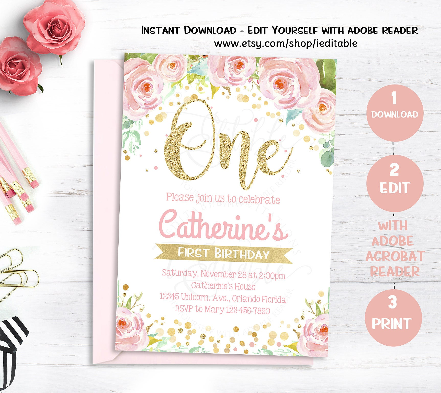 Floral First Birthday Invitations 1st Birthday Girl Invite