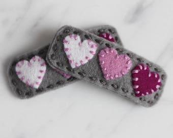 Purple Ombre Heart Wool Felt Hair Clip - White, Orchid, Berry on Gray - Toddler Felt Hair Clip - Girls Hair Clip - Valentines Hair Clip