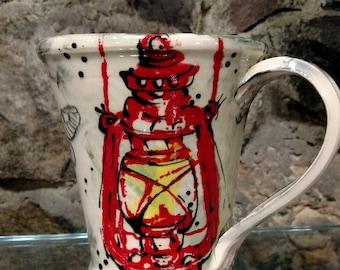 Vintage Red Lantern Mug - READY TO SHIP