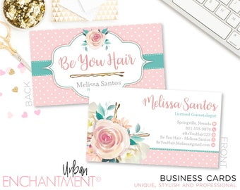 Cosmetologist card etsy hair dresser business card floral bobby pin cosmetologist business card hair stylist reheart Images