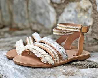 """Featured in BRIDES Mag-Handmade Leather Sandals """"Aria"""" White & Gold Lace/Natural Greek Genuine Leather/Cotton lace/Ivory, White, Gold Colors"""