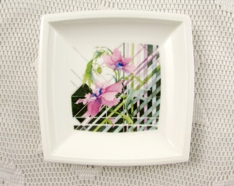 Coalport Harmony Square Dish, Trinket Tray, Vintage Bone China, 4.5 Inches
