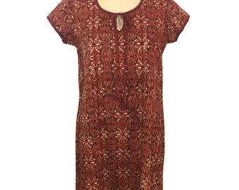 vintage FABINDIA Indian cotton dress / hand block print / deadstock dress / boho bohemian / women's vintage dress / tag size medium