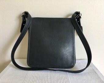 Vintage COACH 9144 Studio Legacy Black Leather Flap Shoulder Bag Purse