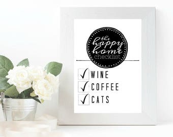 Happy Home Checklist - Wall Art Print Digital Download