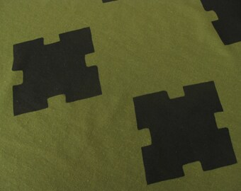 JIGSAW - Handprinted fabric for home sewing, dressmaking, garment sewing. Natural fibers. Handprinted textiles - linen and rayon.