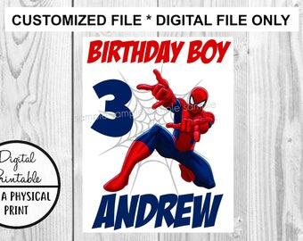 Spiderman Birthday Printable Iron On Transfer - Superhero DIY shirt tshirt - printable - Customized Birthday Boy