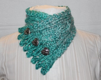 Fishermans Wife Cowl, Chunky Cowl, Cable Knit Cowl, Heart Shape Buttons, Neck Warmer, Knitted Cowl, Malibu Blue, Valentines Day