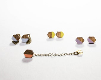 Hexagon Studs/ Lasercut Wood Shapes/ Stud Earrings/ Brass Earring Back/ Painted/ Pastel Colors/ Dipped