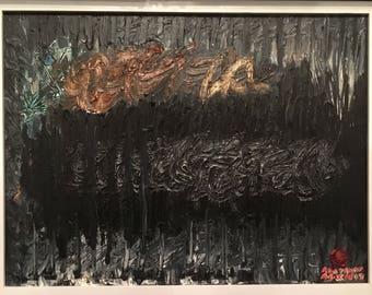 "Dark Cloud.  Original oil painting. 18""x24"" Abstract AGIM"