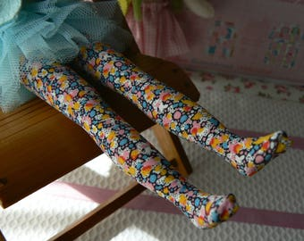 Liberty of London Blythe socks yellow  blue orange Blythe stockings handmade in Paris France
