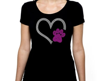 Heart with Paw RHINESTONE t-shirt tank top  Bling S M L XL 2XL Paws Animal Dog Cat Pet Rescue Volunteer Lover pets shelter rescue adopt love
