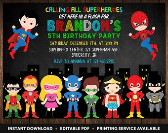 Superhero Invitation Instant Download, Superhero Birthday Invitation, Superhero Party Invitation, Birthday Invitations For Boys, Invitation