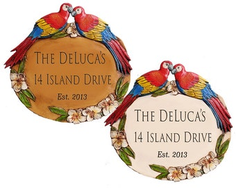 Tropical Decor Parrot Address and Name Sign