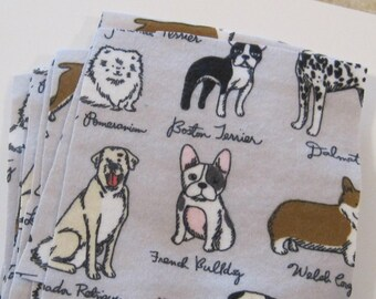Dog Flannel Fabric Squares 12 pieces