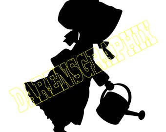 DXF file of a little girl with a watering can for use with a CNC machine.