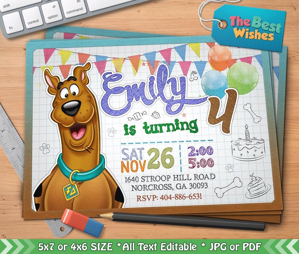 Scooby Doo Invitation Scooby Doo Birthday Party Cartoon