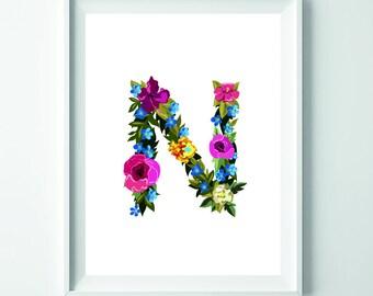 Letter N print, N printable art, Monogram print, Custom monogram, Nursery decor, Nursery art, Monogram art, alphabet print, wall art