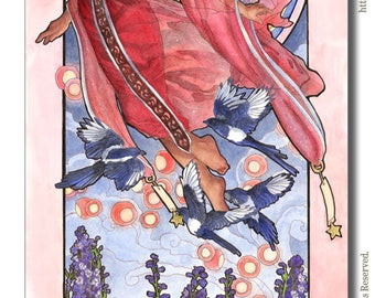 Art Print Lady of July with Floating Sky Lanterns and Magpies Birds Star Goddess Birthstone Series Mucha Art Nouveau Painting