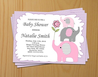 Girl Baby Shower Invitations Girl Elephant Baby Shower Invitation Baby Girl Shower Invites (02) - Free Thank You Card Instant Download
