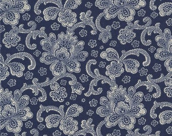 211669 navy blue fabric with beige Jacobean flower design by Timeless Treasures