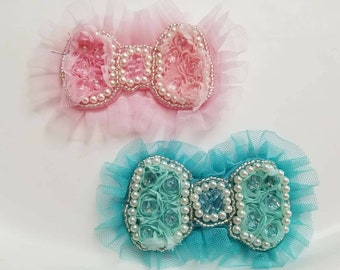 Rosette and pearl bow, Pink rosette bow, teal rosette bow, tulle trim bow, chiffon bow, elegant bow, aqua bow, photo prop bow, unique bow