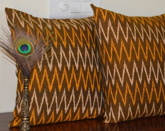 "Ikat cotton cushion cover / sham 18"" X 18"""