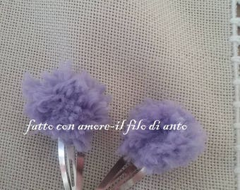 Pair of hairclips with pom pom wool
