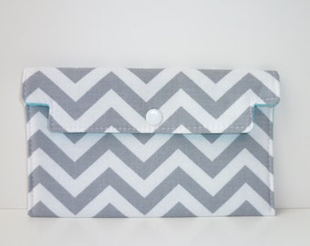 Coupon Holder Gray Chevron Zigzag - Wallet - Receipt Holder - Phone Case - Jewelry Pouch - Gift For Mom - Birthday Gift For Her
