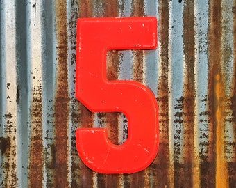 Vintage Metal Marquee Sign Number, Metal Number Five, Industrial Metal Number Five, Sign Number