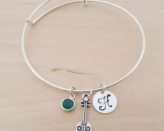 Banjo Bangle - Bangle - Silver Adjustable Bangle - Personalized Bracelet Swarovski Crystal Birthstone Jewelry-Gift