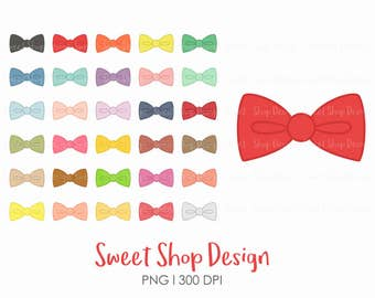 Bow Clip Art, Ribbon Clip Art, Cute Colorful Ribbon, Royalty Free Clip Art, Planner Stickers, Instant Download