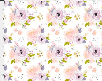 """Fabric Remnant - Indy Bloom Peachy Plum - IndyBloom - Spoonflower - 8""""x56"""""""