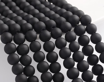 Black Beads Rubberized Glass Beads 8mm Round Glass Beads Wholesale Beads Matte Black Beads 8mm Beads 105 pieces