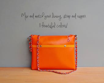 Spring Polka Dot Shoulder Bag in Tangerine, Summer Vegan Crossbody Bag, Orange Faux Leather Handbag with Silver Chain Strap, Vinyl Purse