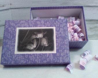 "White Tulips, Purple Memory Box, Lavender Mothers Day Memories ""Growing up ME! Memory Compendium©"" Mary Lynn Savko RoadSideBoutique"