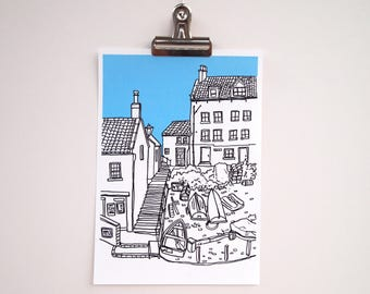 Seaside Town Illustration A5 Art Print | Yorkshire Fishing Village