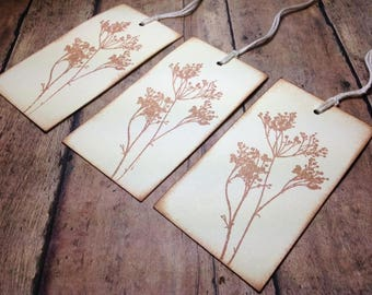 Queen Anne's Lace Tags, Wildflower Hand stamped Tags, Vintage Inspired Tags, Holiday Tags, Vintage Style Tags, Wedding tags