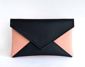 Black Pink Bridesmaid Clutch Wristlet Clutch Bag Gift for Her Vegan Leather Clutch Bag Evening Clutch Purse Wedding Clutch Vegan Bag Clutch