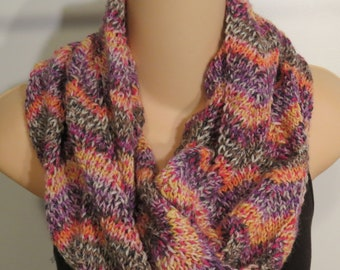 Hand Knit Wool Cowl Scarf Yellow Pink Gray moebius